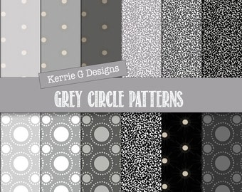 Grey circles dark patterned paper Downloadable scrapbook paper, digital patterned paper, commercial use shades of grey paper