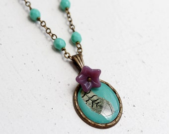 Feather Epoxy Pendant, Purple Glass Flower, Green Glass, Brass Wire Wrapped Necklace