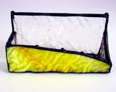 Rippled Sunny Handmade Stained Glass Business Card Holder Textured Uroboros Glass Yellow and Clear