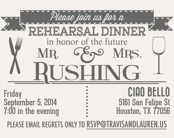 Rehearsal Dinner Invitation Template with Custom Typography