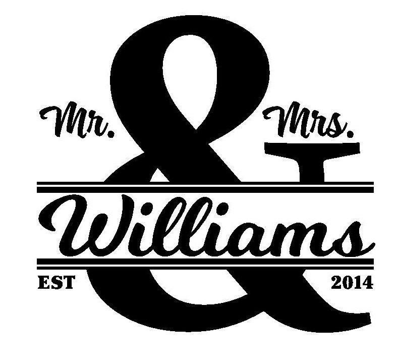 Wedding Monogram Glass Block Decal Vinyl Lettering By StiksAlot