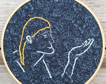 "8.5"" Handmade Embroidered Hoop Wall Art"