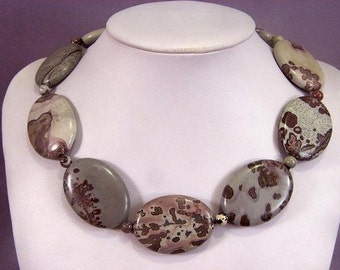 Necklace Artistic Stone 40mm Oval Beads 925 NSAS5741