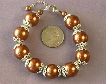 bracelet Bronze South Sea Shell Pearls 16mm w/ Cap BHSB0118