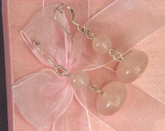 Earrings Rose Pink Quartz 16mm Rondells 925 ESQS1851