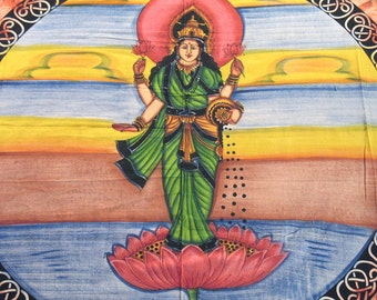 Goddess of Wealth and Prosperity, Lakshmi, Huge Wall Cotton Printed Wall Tapestry Hanging from India - NH10921