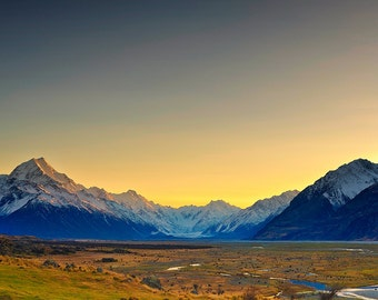 Landscape Fine Art Print, New Zealand, Mt Cook at sunrise