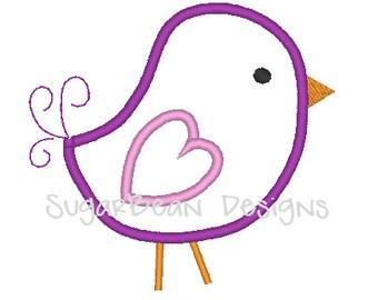 Love Bird Embroidery Applique Design. Valentines Day Machine Embroidery Design. 4x4 Hoop
