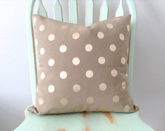 Decorative Pillow Cover. Gold Polka Dot. Throw Pillow Cover. Pillow Sham.