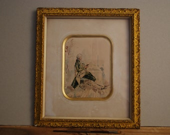 French antique water colour of aristocrat reading with beautiful gilt frame with gilt edged, deep  mount