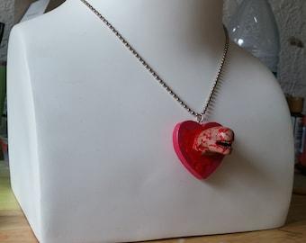 Handmade I <3 Aliens Chestburster Necklace