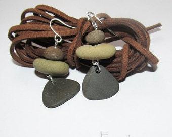 Beach stone earrings natural stone earrings designer ooak earrings pebble earrings summer earrings gift ideas unique women earrings (NSE-3)