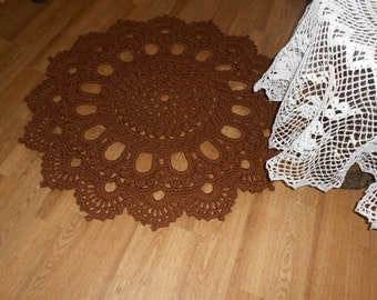"Crocheted rug ""Magnificent"" brown"