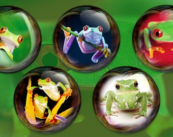 Frogs- Bubble Frogs 2.25 inch Pin Back Buttons or Magnets, set of 5--