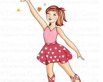 INSTANT DOWNLOAD,ballet girl and love bird, ballerina, pink