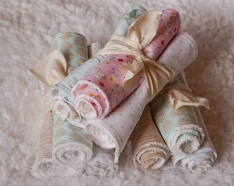 Set of 3 Girl Burp Cloths handmade with Cotton Prints and Chenille