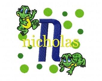 Feeling Froggy Jump Machine Embroidery Monogram Font Alphabet Design Set INSTANT DOWNLOAD