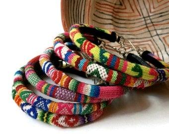 boho bracelet stack gypsy jewelry fabric bangle tribal bracelet peruvian fabric embroidered bracelet LOT OF 6