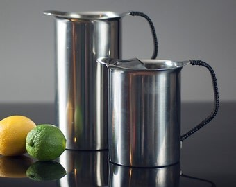 Pair of Danish Stainless Steel Pitchers. Vintage Midcentury Design from Denmark