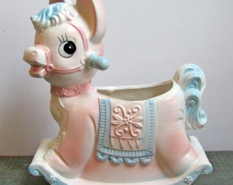 Adorable Inarco rocking horse planter, vintage collectable, ON SALE