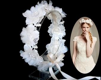 Wedding Flower Circle Headpiece,Flower Wreath,Prom Flower Crown,Ribbon Tie Back Headband-WH10R68