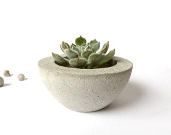 Concrete Bowl Planter Home Decor Industrial Simple Pot Minimalist Design