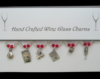 Casino Set of Wine Glass Charms