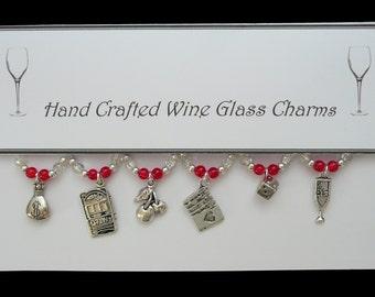 Casino Set of Wine Glass Charms