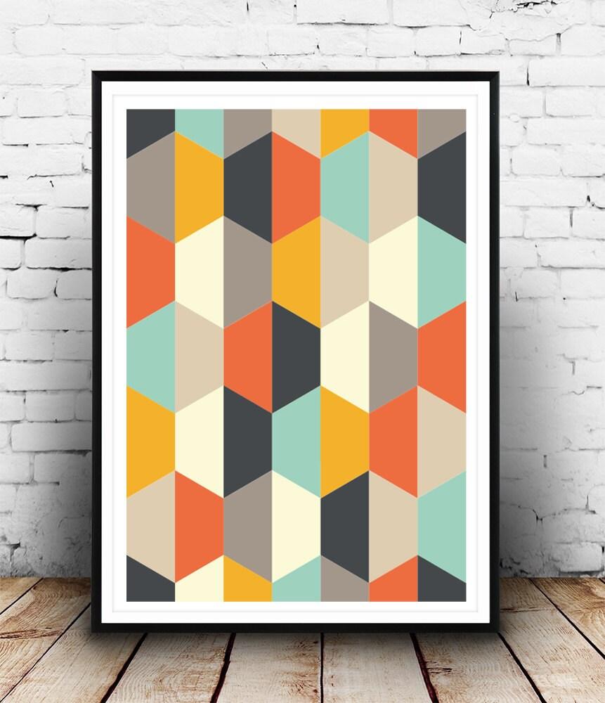 geometric art print abstract part mid century art retro. Black Bedroom Furniture Sets. Home Design Ideas