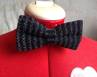 black and silver bow tie