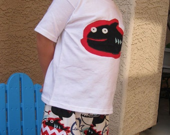 Toddler Boys Shorts with Cargo Pockets Alexander Henry Pet Piranha Fabric