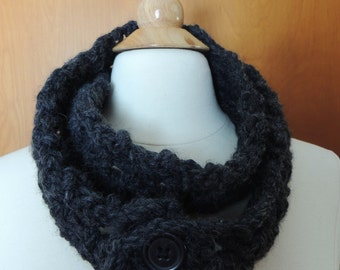 Handmade dark grey/black chunky crochet infinity scarf with buttons to close