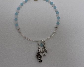 Sky Blue and White Bicone Crystals on Memory Wire Bracelet with Seahorse and Porpoise Charms.  (S-150058)