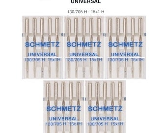 5 Packs Schmetz Universal 11 Sewing Machine Needles Type 130/705 H 15x1 H Size 75/11 (25 Total Needles)