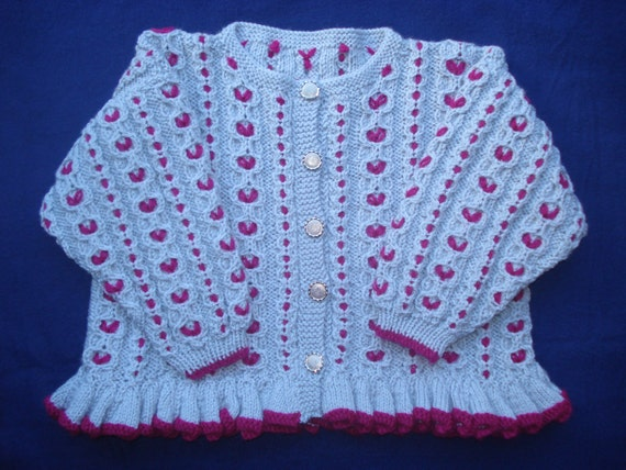 Silver Grey and Red Hand Embroidered Girls Jacket with Silver Tone Buttons