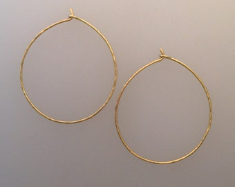 Solid 18k yellow gold hammered hoop earrings (LCE009)