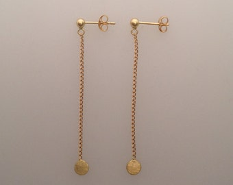 Solid 18k yellow gold hammered disc drop earrings (LCE022)