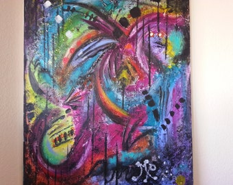 "mixed media,acrylic, gesso, glitter, fantasy, canvas,""abismo tropical""."