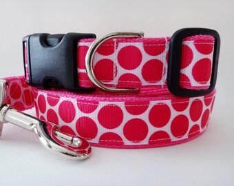 """Dog Collar and (optional) Leash Set - Pink Polka Dot Collar - Girl Dog Collar - Large Dog Collar 1"""" Wide - Adjustable Dog Collar"""