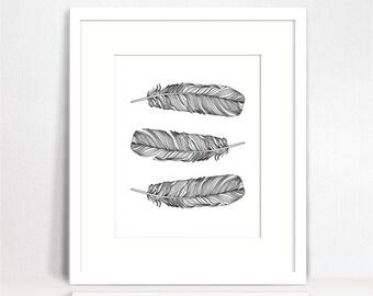 Black and white feather Print, Feather Wall Art, Feather Wall decor, Feather poster, Feathers Wall Print, Printable art, Bohemian Art, boho