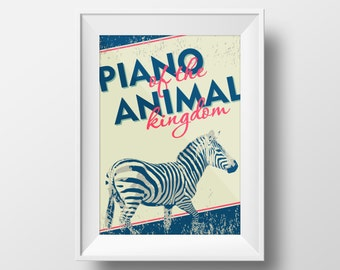 """Printable Art Blue Teal Pink Zebra Poster """"Piano Of The Animal Kingdom"""" Inspirational Print Motivational Quote Instant Digital Download"""