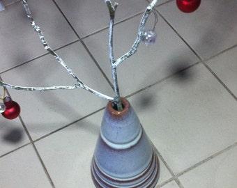 Ceramic cone vase height 11cm diameter 6cm Blue/white glaze  decoration not included