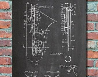 Saxophone Patent Wall Art, Patent Print, Blueprint, Patent Poster, Plexity Prints #021