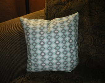 Handmade aqua, grey and white envelope style pillow cover; pillow sham; throw pillow and accent pillow.