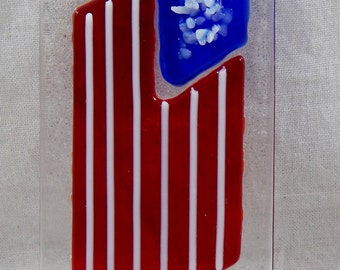 American Flag Suncatcher, kiln fired fused stained glass window hanging