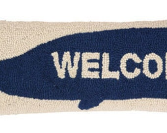 Welcome Whale Hand-Hooked Pillow