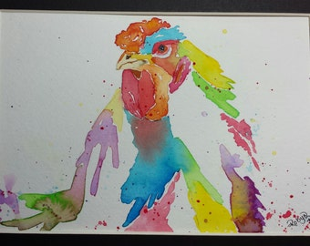 "Original watercolor painting ""Splash Rooster""."