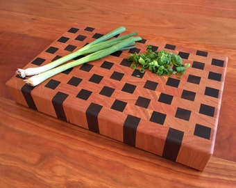 End Grain Cutting Board - Cheese Board - Small - Cherry and Walnut - Handmade - Wood