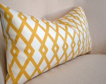 Yellow Pillow Covers, Yellow white geometric pillow, Lumbar pillow, Throw pillows , Decorative Pillow, Accent pillow, Cushions cover, Pillow