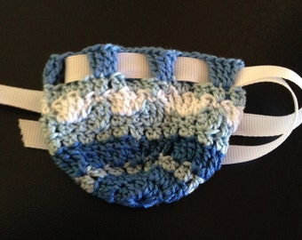 Blue Crocheted Rosary Pouch